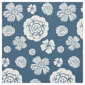 Bold Floral Pattern Navy Blue White