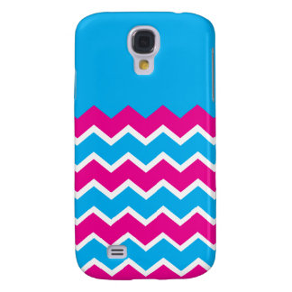 Bold Girly Hot Pink Teal Chevron ZigZag Pattern Galaxy S4 Case