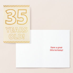 Bold Gold Foil 35 YEARS OLD Birthday Card