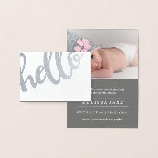 Bold Hello Birth Announcement Silver ID429