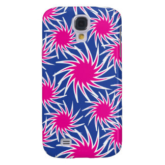 Bold Hot Pink Blue Spiraling Wheels Funky Pattern Galaxy S4 Case