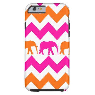 Bold Hot Pink Orange Elephants Chevron Stripes Tough iPhone 6 Case