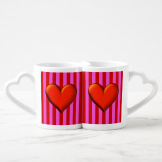 Bold Hot Pink, Red Stripes, Red Metallic Heart Couple Mugs