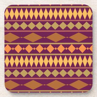 Bold Magenta Rust Tribal Geometric Pattern Coaster
