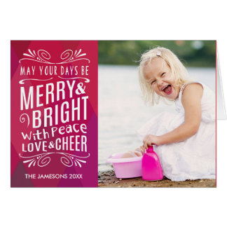 Bold Merry and Bright Holiday Photo Greeting Card