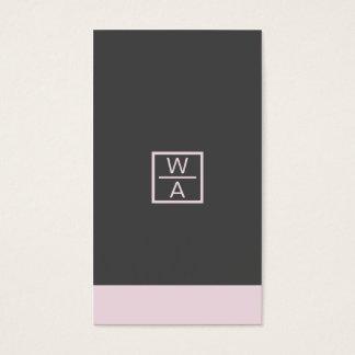 Bold modern pink blue black cool stylish monogram business card