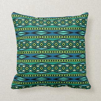 Bold Modern Tribal Aztec Blue & Green Geometric Cushion