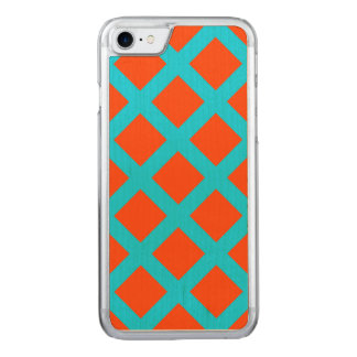 Bold Orange and Turquoise Blue Squares Pattern Carved iPhone 8/7 Case