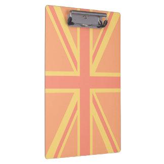 Bold Orange Union Jack British Flag Swag Clipboard