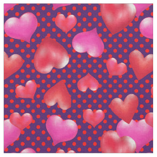 Bold Painted Hearts on Dotted Purple | Valentine Fabric