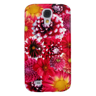 Bold Pink Magenta Dahlia Flowers Floral Collage Galaxy S4 Case