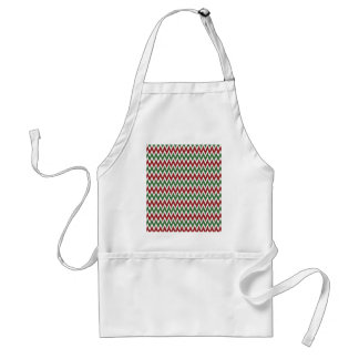 Bold Red and Green Christmas Chevron Zigzags Standard Apron