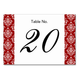 BOLD RED AND WHITE DAMASK PATTERN 1 TABLE CARD