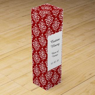 BOLD RED AND WHITE DAMASK PATTERN 1 WINE BOTTLE BOX