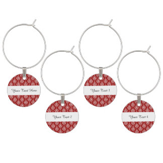 BOLD RED AND WHITE DAMASK PATTERN 1 WINE CHARMS