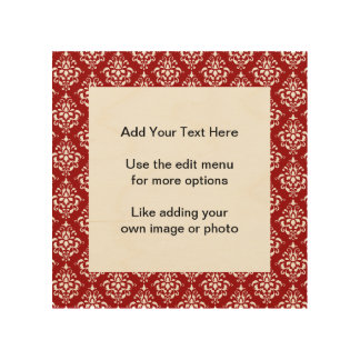 BOLD RED AND WHITE DAMASK PATTERN 1 WOOD CANVAS