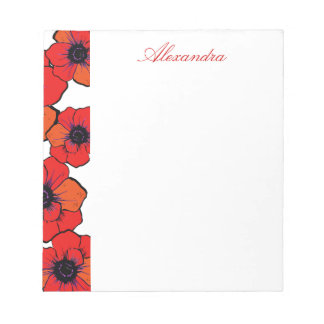Bold Red Orange Poppies Notepads