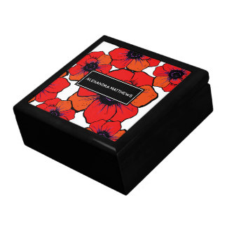 Bold Red Orange Poppies Personalized Gift Box