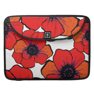 Bold Red Orange Poppies Sleeves For MacBooks