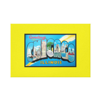 Bold Retro Bright Yellow Greetings From Chicago Canvas Print