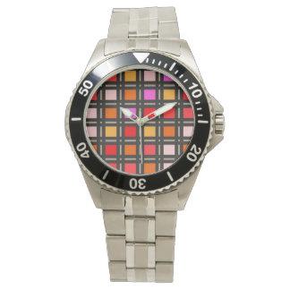 Bold Sunset Colors Geometric Grid Pattern Watch