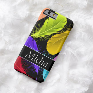 Bold Vivid Colorful Feathers Monogram Barely There iPhone 6 Case