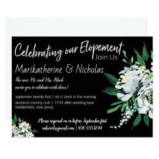 Bold White Flowers Elopement Party Card