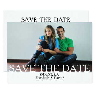Bold White SAVE THE DATE PHOTO - Announcement