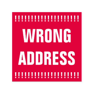 "Bold ""WRONG ADDRESS"" Self-Inking Rubber Stamp"