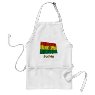 Bolivia Waving Flag with Name Standard Apron