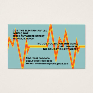 BOLT OF ELECTRICITY ELECTRICIAN'S BUSINESS CARDS