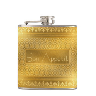 Bon Appetit Buckskin Leather Victorian Frame tan Hip Flask