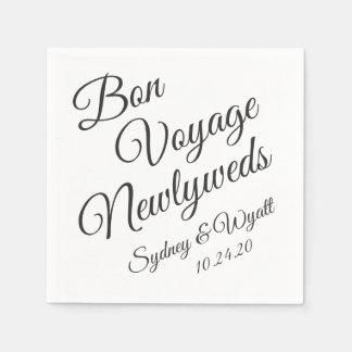 Bon Voyage Black n White Personalised Party Napkin Disposable Napkin