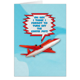 Bon Voyage Enjoy Vacation Funny Plane in Sky Card