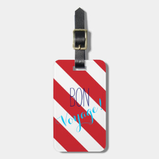 Bon Voyage Striped Luggage Tag