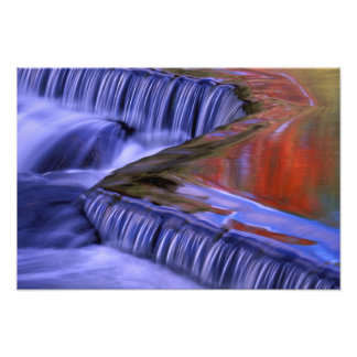 Bond Falls; Reflecting Fall Colored Leaves; Photo Print