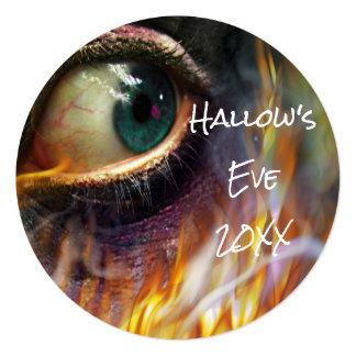 Bonfire Evil Eye Flames Halloween Round Invite
