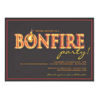 Bonfire on Fire Campfire Flames Party Invitation