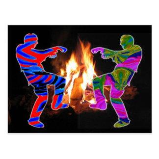 BonFire Zombie Dance Postcard