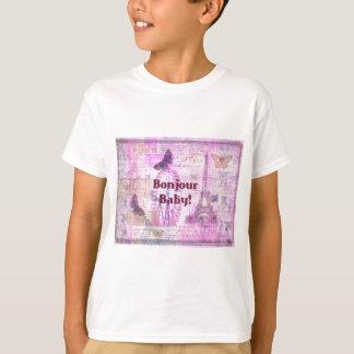Bonjour Baby French Phrase Paris theme T-Shirt