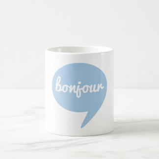 bonjour blue speech bubble, French word art Coffee Mug