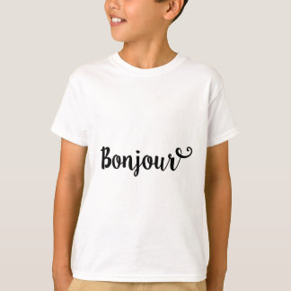 bonjour french hello gift college girl T-Shirt