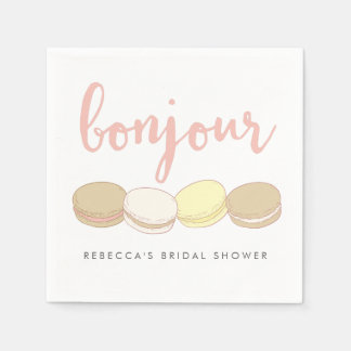 Bonjour French Macarons Bridal Shower Disposable Serviette