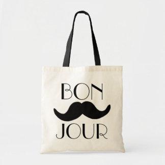 BONJOUR Moustache Budget Tote Bag