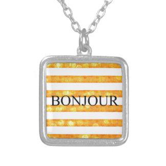 Bonjour Orange Stripe Bokeh Silver Plated Necklace