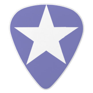 Bonnie Blue Flag Guitar Pic - Blue with White Star White Delrin Guitar Pick