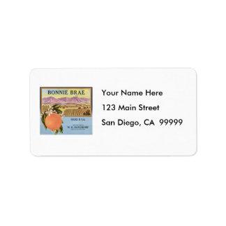 Bonnie Brae Oranges Fruit Crate Label Address Label