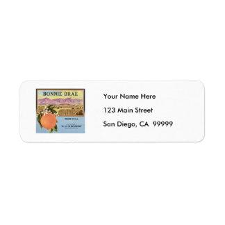 Bonnie Brae Oranges Fruit Crate Label Return Address Label