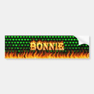 Bonnie real fire and flames bumper sticker design.