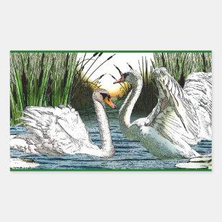Bonny Swans Sunrise Rectangular Sticker